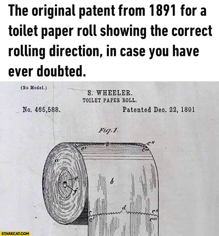 The original patent from 1891 for a toilet paper roll showing the correct rolling direction in case you have ever doubted