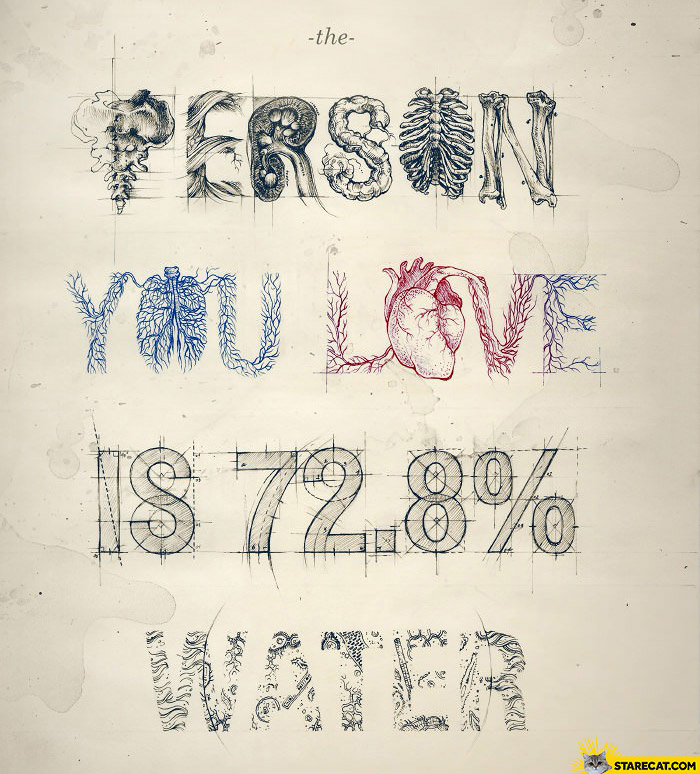The person you love is 72 percent water