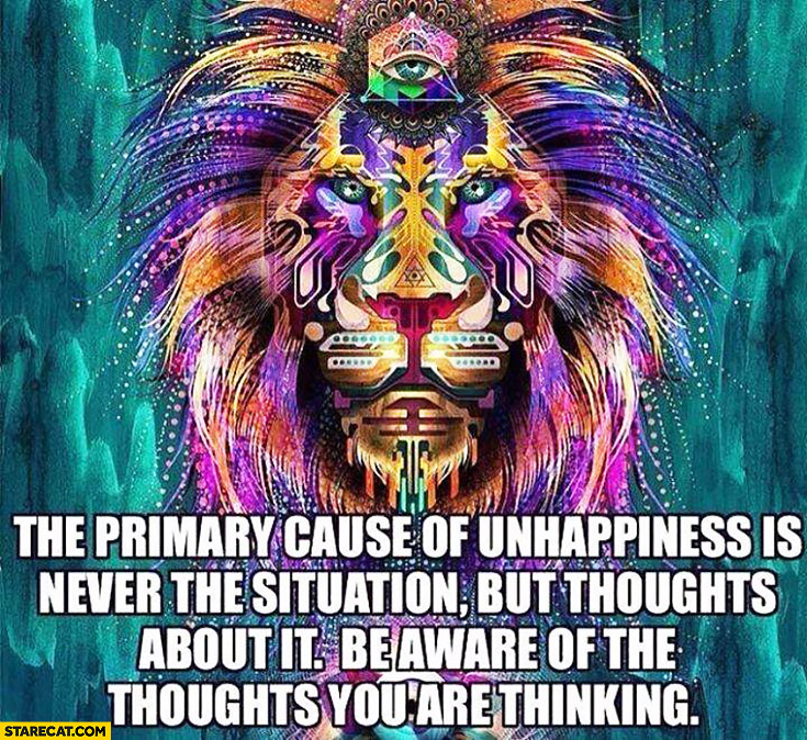 The primary cause of unhappiness is never the situation, but thoughts about it. Be aware of the thoughts you are thinking