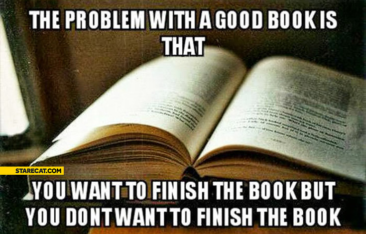 The problem with a good book is that you want to finish the book but you don't want to finish the book