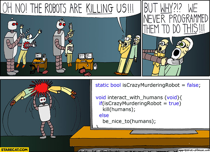 The robots are killing us but why we never programmed them to do this. If crazymurderingrobot = true then kill(humans). Programming code