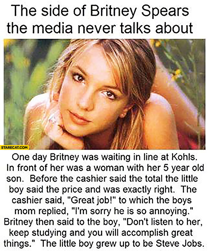 The side of Britney Spears the media never talks about the little boy grew up to be Steve Jobs