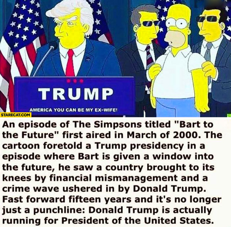 The Simpsons Bart to the future Donald Trump running for president of the USA