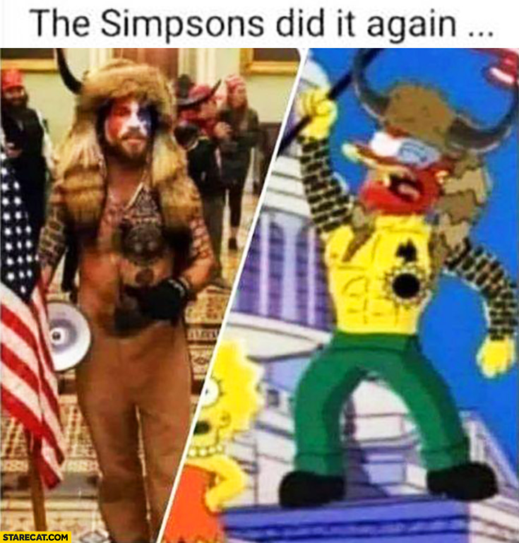 The Simpsons did it again man with horns coplay at capitol Trump supporter