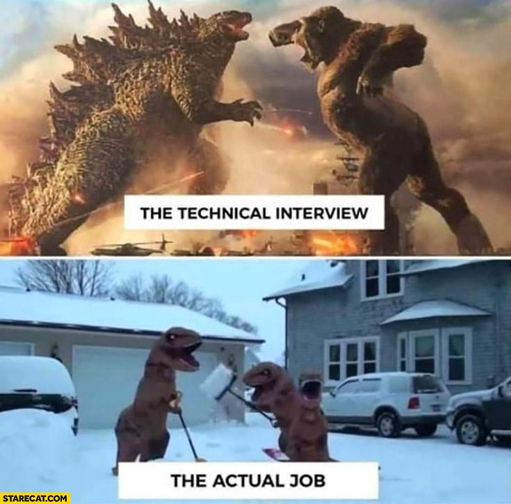 The technical interview vs the actual job comparison dinosaurs