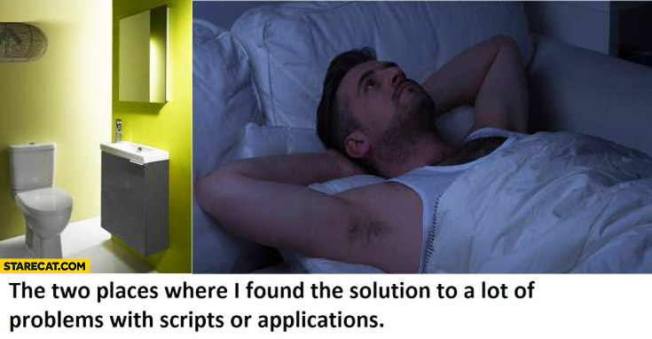 The two places where I found the solution to a lot of problems with scripts or applications toilet bed
