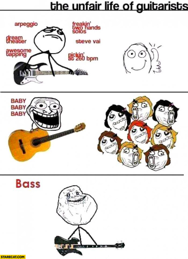 The unfair life of guitarists bass player forever alone