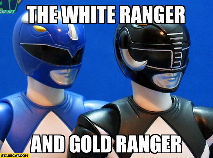 The white Ranger and Gold Ranger Power Rangers