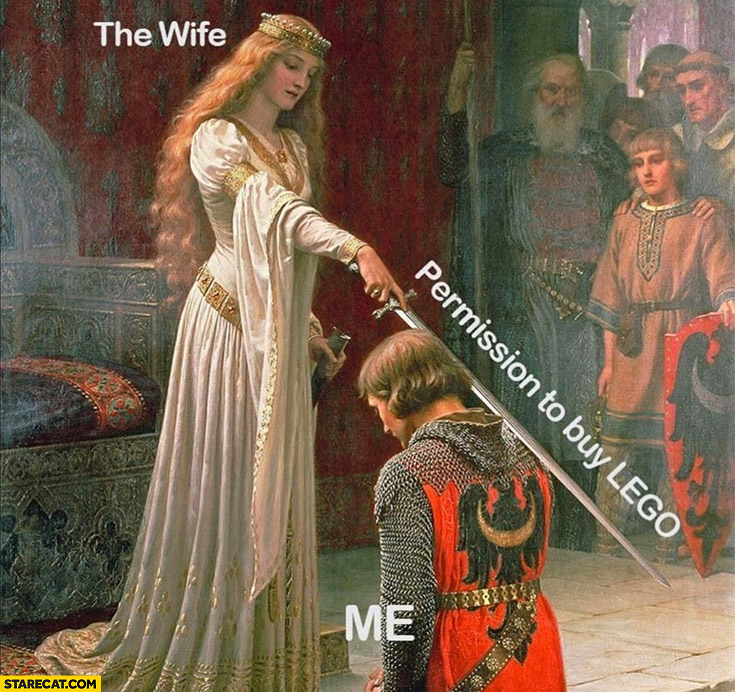 The wife with a sword gives permission to buy Lego to me