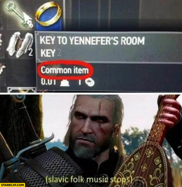 The Witcher key to Yennefer's room common item Slavic folk music stops