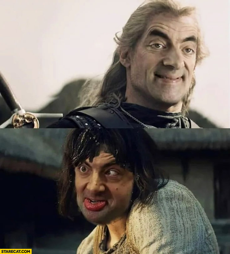The Witcher Yennefer Mr Bean face photoshopped