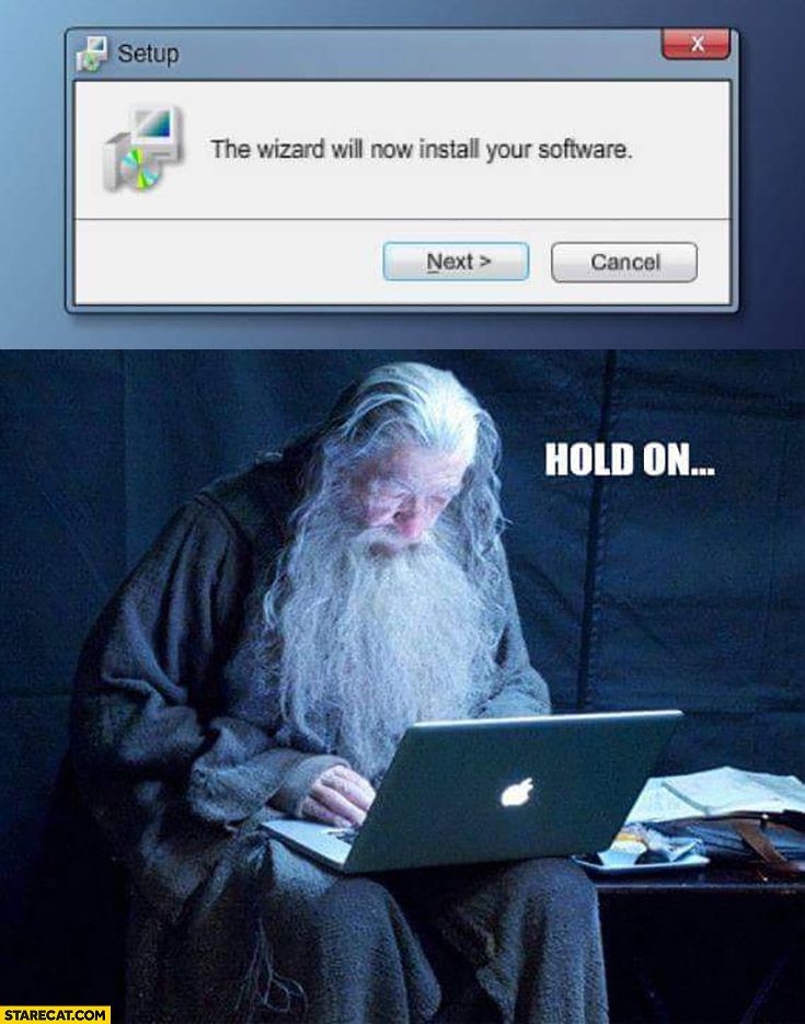 The wizard will now install your software hold on Gandalf