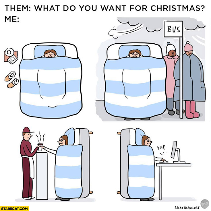 Them: what do you want for Christmas? Me: bed that I can stay in all day long
