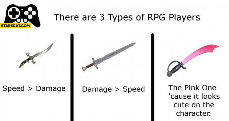 There are 3 types of RPG players swords speed damage pink one