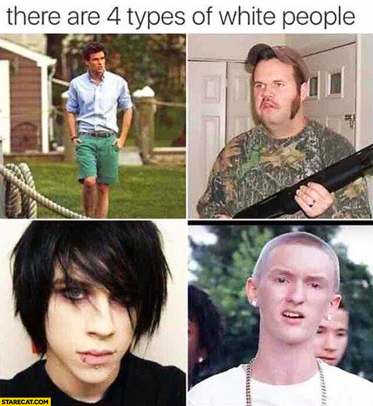 There are 4 types of white people men emo hunter college student