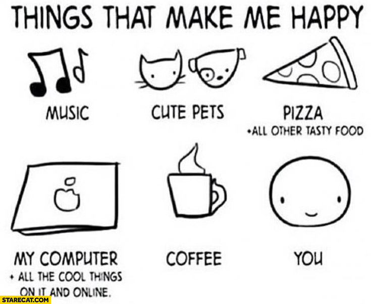things that make me happy music pets pizza coffee you. Black Bedroom Furniture Sets. Home Design Ideas