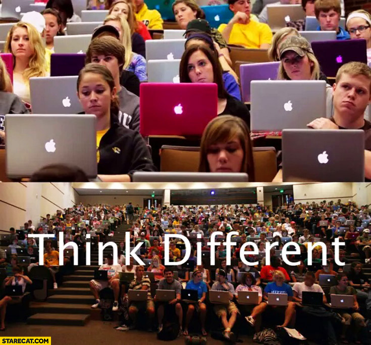 Think different class full of Apple MacBook students