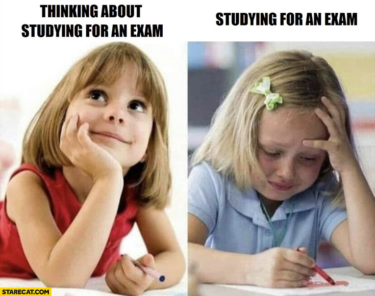 Thinking about studying for an exam vs actually studying for an exam girl crying