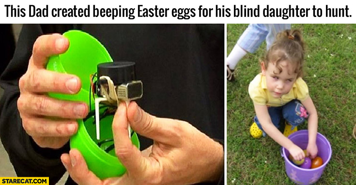 This dad created beeping easter eggs for his blind daughter to hunt
