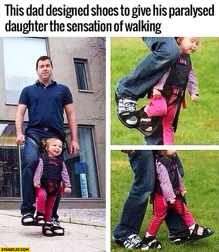 This dad designed shoes to give his paralysed daughter the sensation of walking