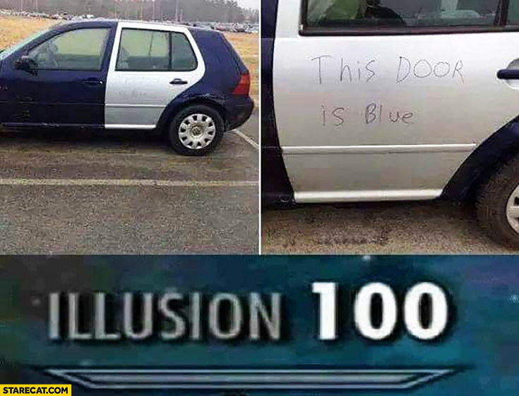 This door is blue writtien on a silver door in a blue car illusion 100