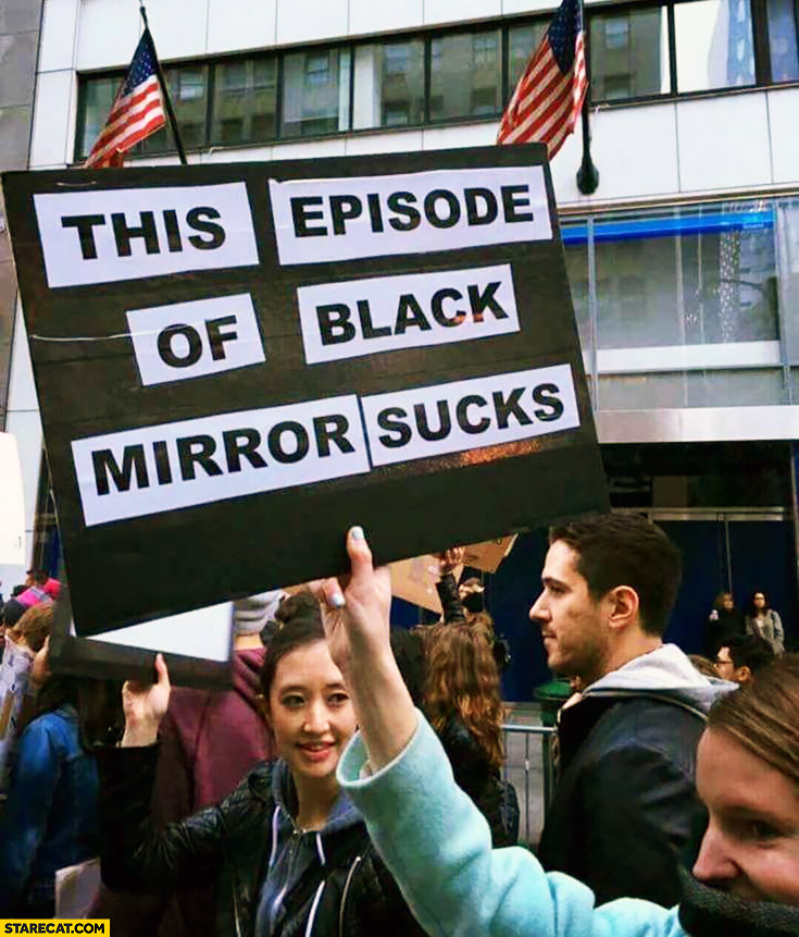 This episode of Black Mirror sucks protester sign trolling
