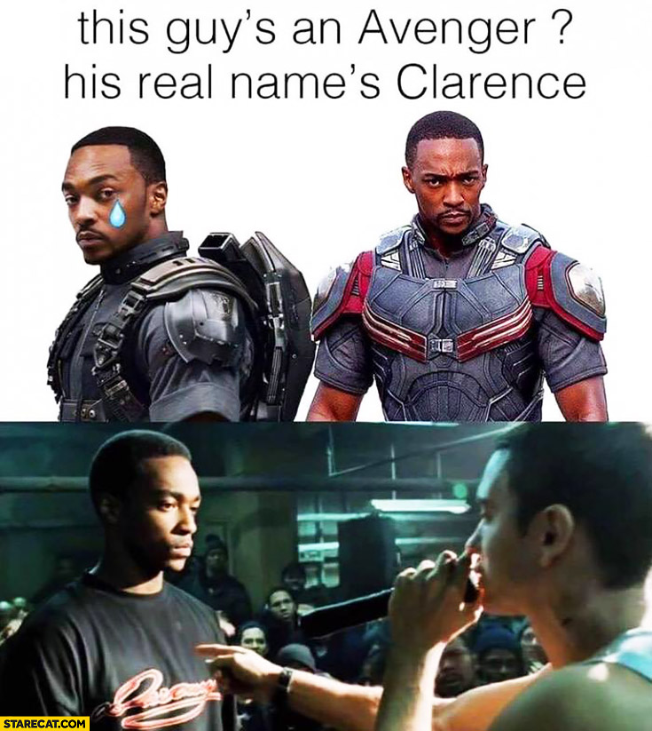 This guy's an Avenger? His real name's Clarence. Star from 8 Mile movie Anthony Mackie