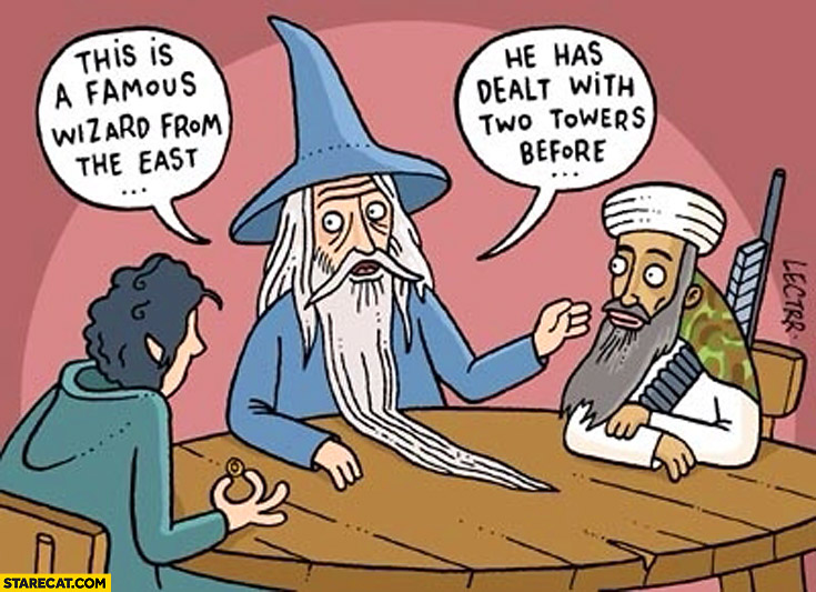 This is a famous wizard from the east he has dealt with two towers before World Trade Center Lord of the Rings