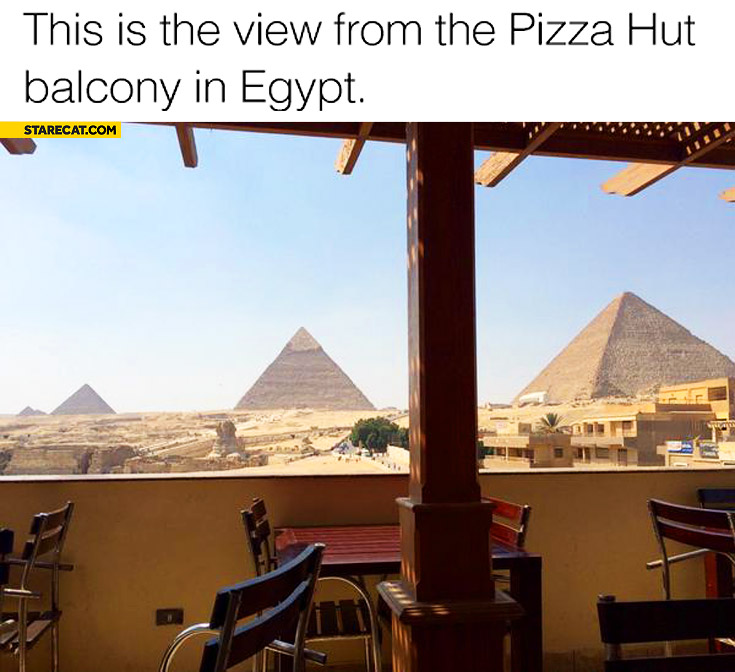 This is the view from  Pizza Hut balcony in Egypt