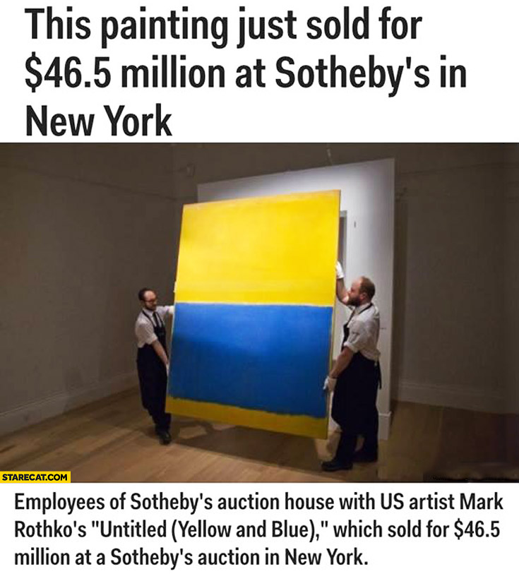 This painting just sold for 46,5 million dollars at Sothebys in New Your Untitled yellow and blue