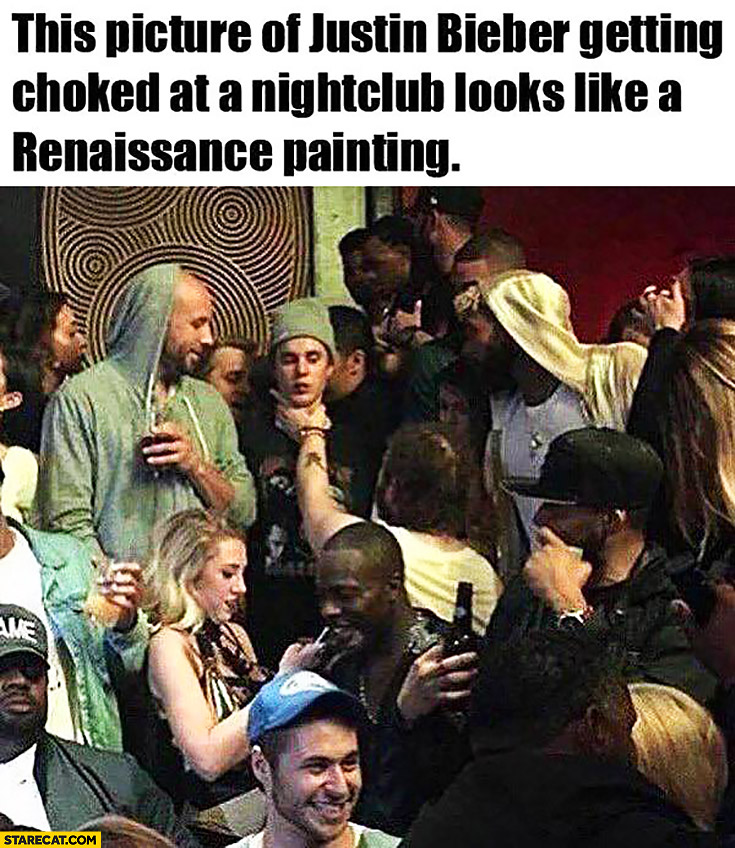 This picture of Justin Bieber getting choked at a nightclub looks like a renaissance painting