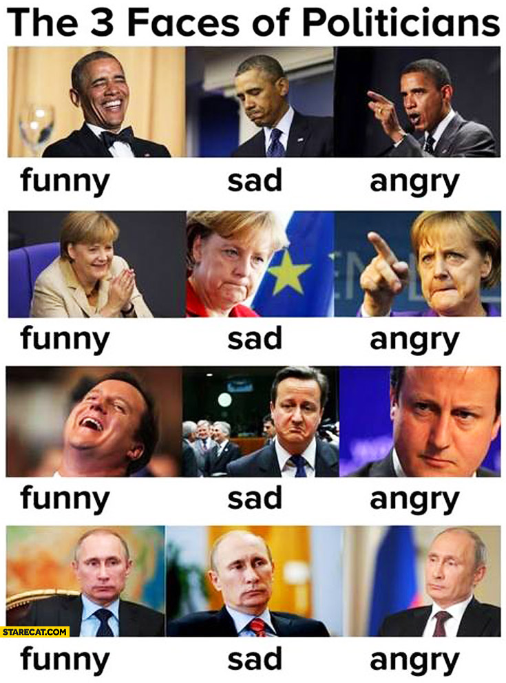 Three faces of politicians: funny sad angry. Obama Merkel Cameron Putin