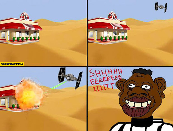 TIE fighter destroys KFC shit Star Wars