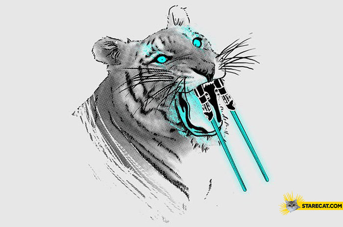 Tiger with lightsabers