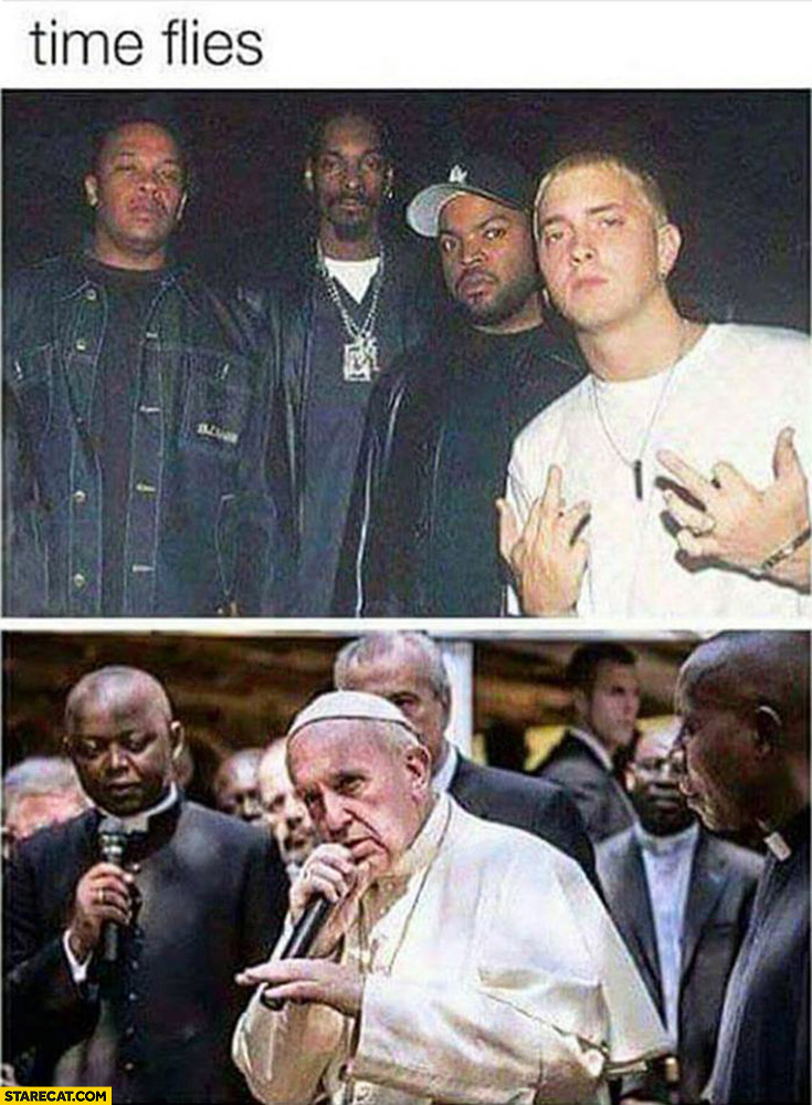 Time flies Eminem in the past now Pope Francis silly comparison