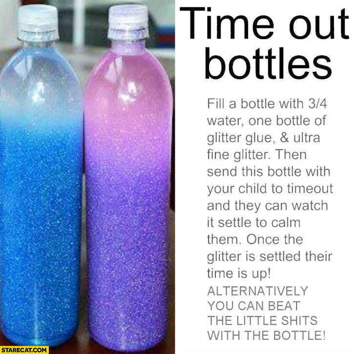 Time out bottles filled with glitter creative idea