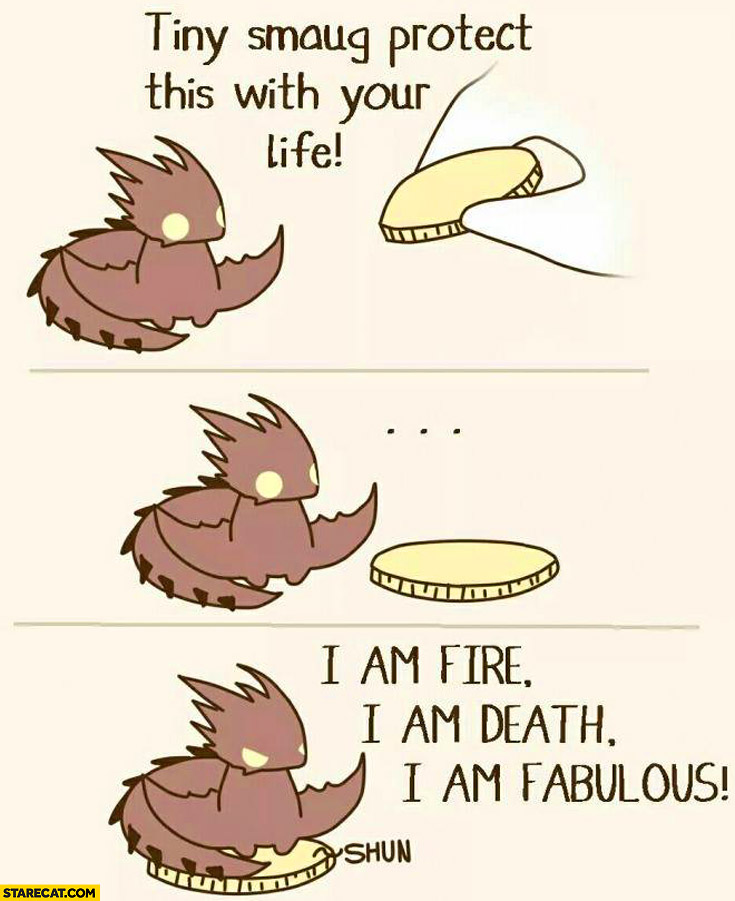 Tiny Smaug protect this with your life I am fire I am death I am fabulous