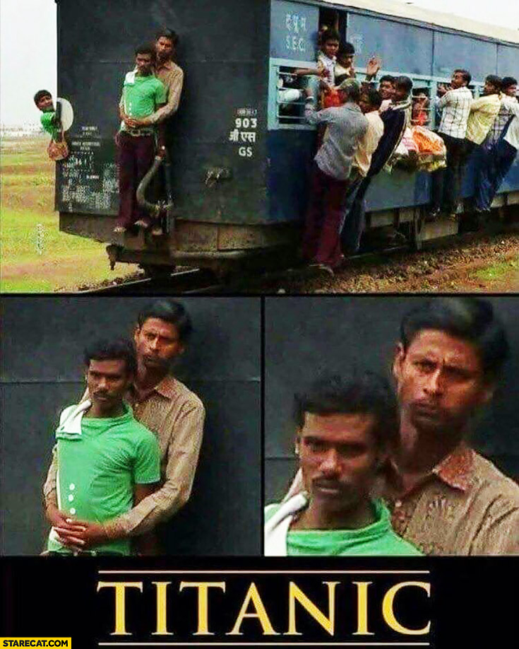 Titanic in India two men guys in front of the train