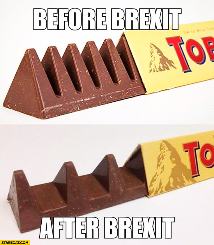 Toblerone before Brexit, after Brexit comparison