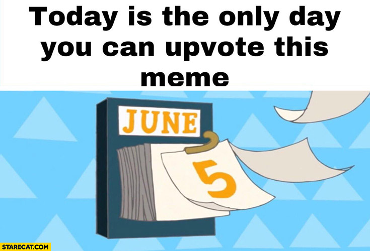 Today is the only day you can upvote this meme