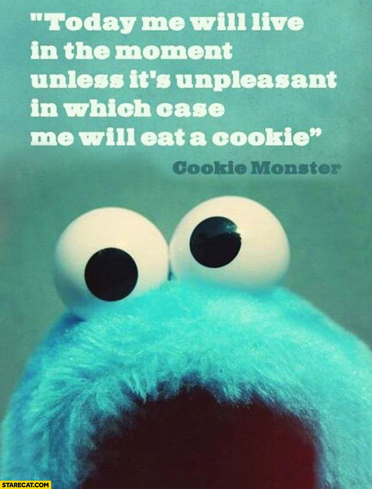Today me will live in the moment unless it's unpleasant in which case me will eat a cookie Monster