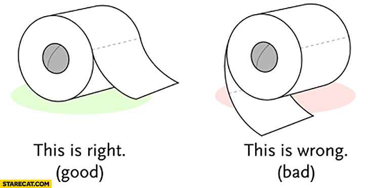 Toilet paper how to: this is right (good), this is wrong (bad)