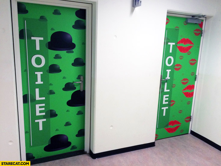 Toilets what's your gender top hats kisses