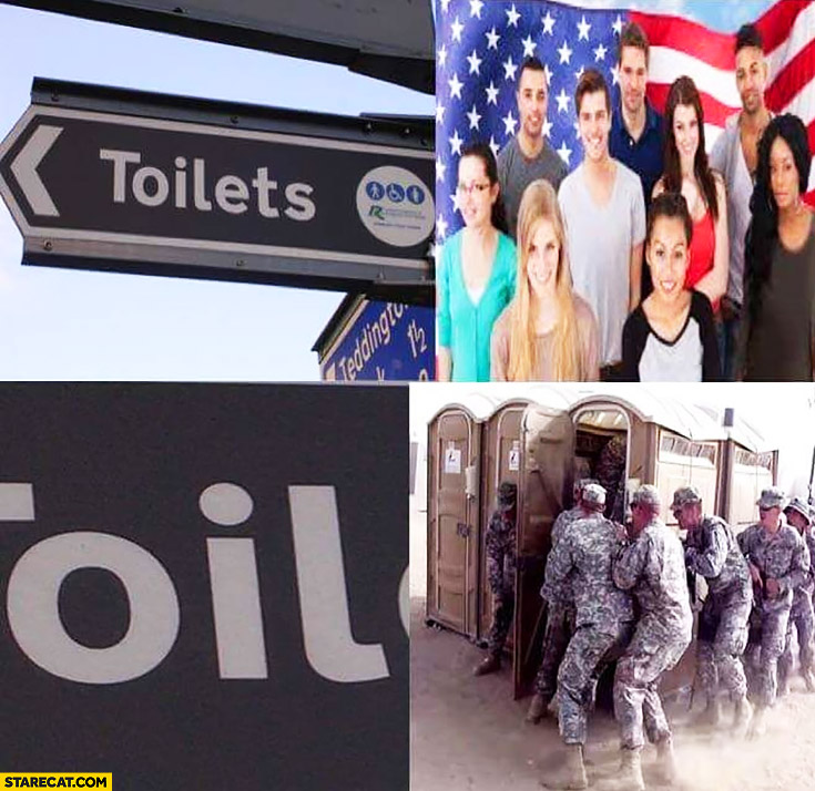Toilets word oil american soldiers attacking