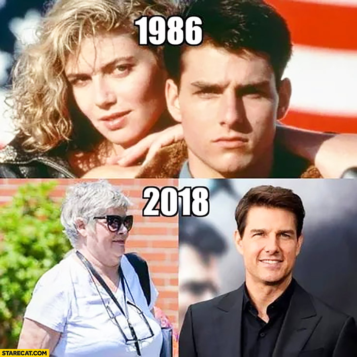 Top Gun actors 1986 vs 2018 compared Tom Cruise looking great Kelly McGillis looking bad