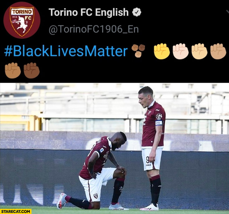 Torino FC English black lives matter black footballer kneeling in front white one