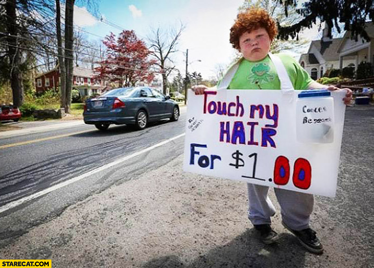 Touch my hair for $1 dollar red kid with curly hair creative idea