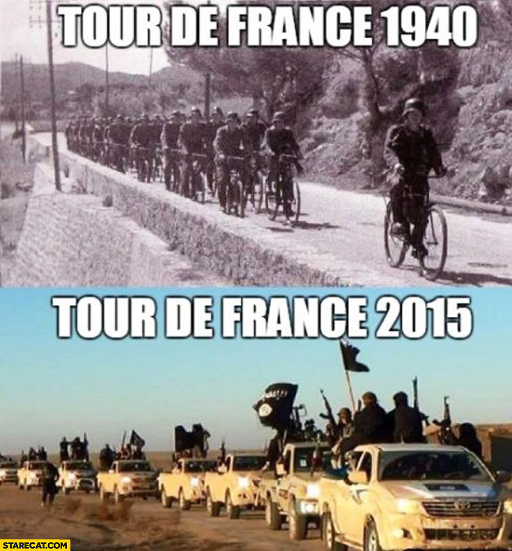 Tour de France 1940 Germans on bicycles, Tour de France 2015 ISIS