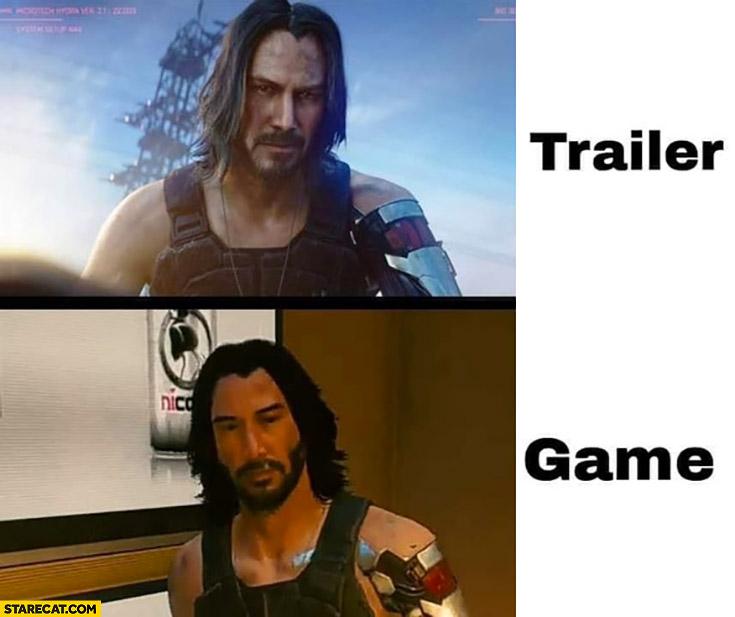 Trailer vs game Cyberpunk 2077 Keanu Reeves comparison