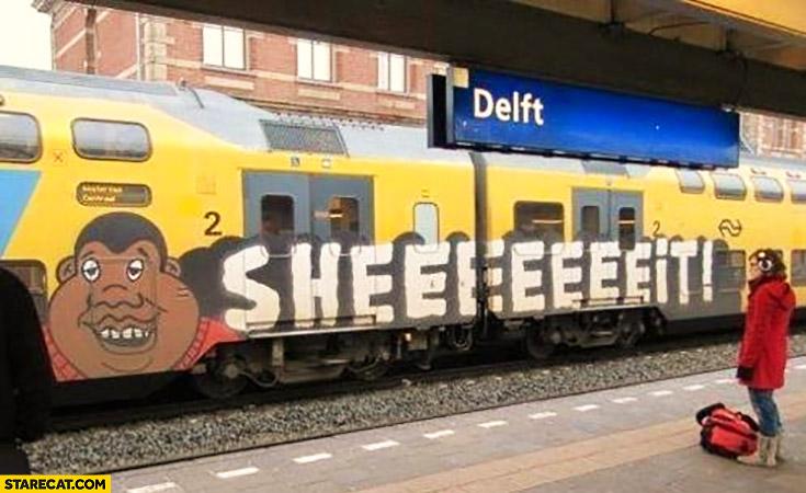 Train graffiti black man sheeeeit